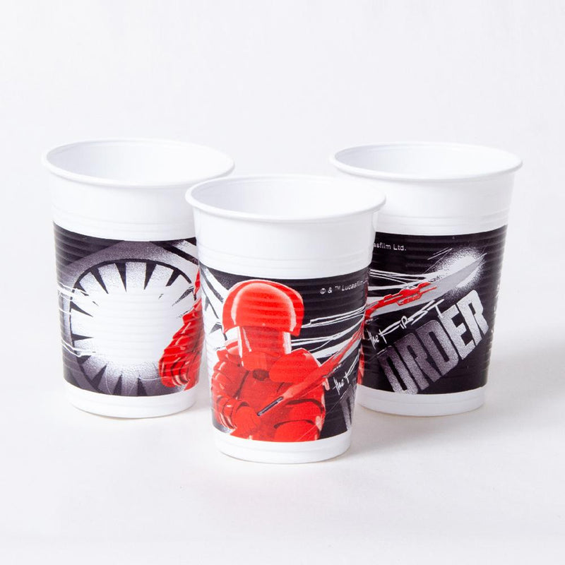 3 plastic party cups featuring star wars designs