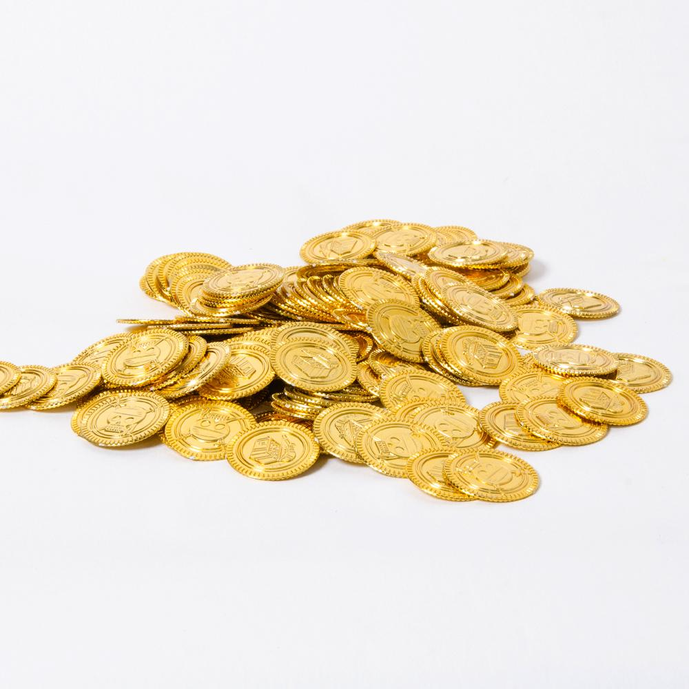 A pile of plastic golden pirate coins