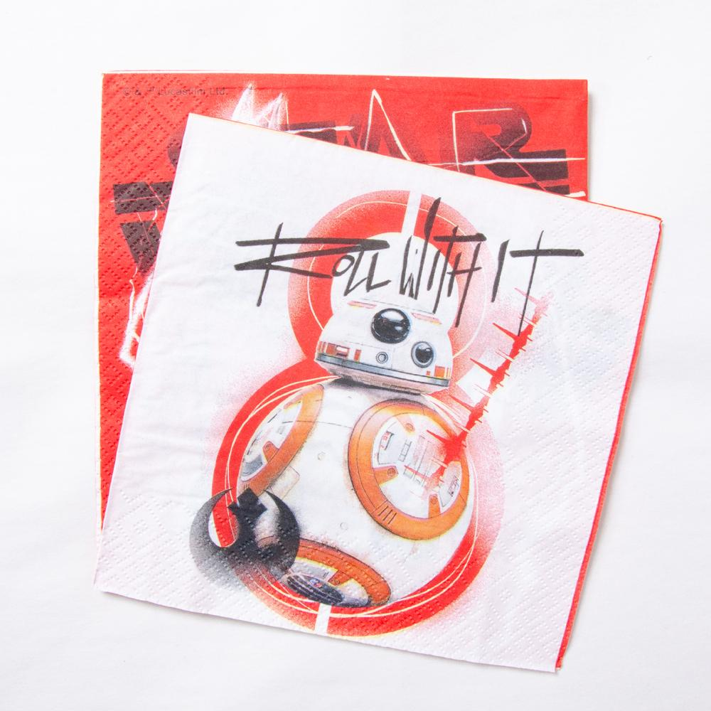 2 star wars-themed party napkins featuring BB8