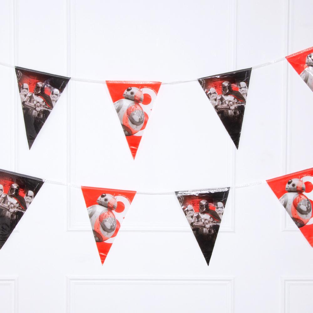 A party bunting garland with star wars-themed pennant flags