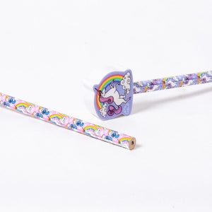 Unicorn Pencils with Eraser Toppers (x6)