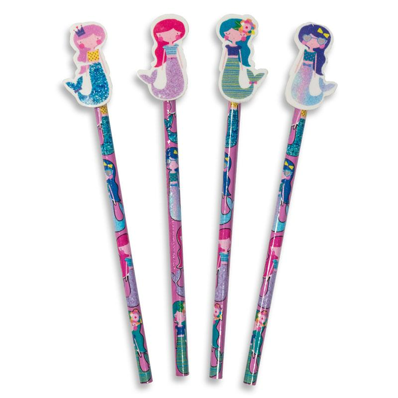 Mermaid Pencils with Eraser Toppers (x4)