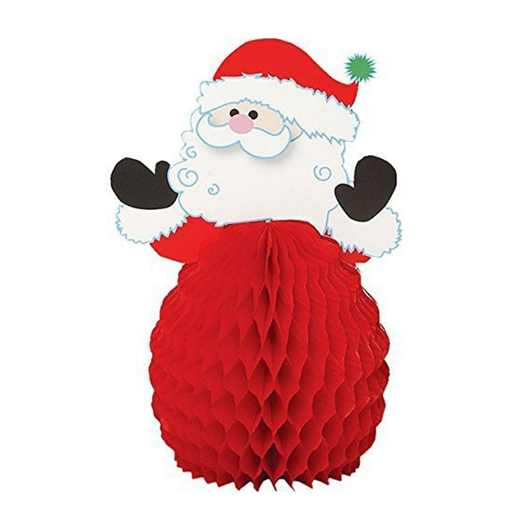 Santa Mini Honeycomb Decorations (x4)