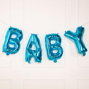 "A blue balloon bunting with a phrase saying ""Baby"" in shiny foil"