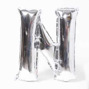 "Air-Fill Silver 16"" Letter Party Balloon N"