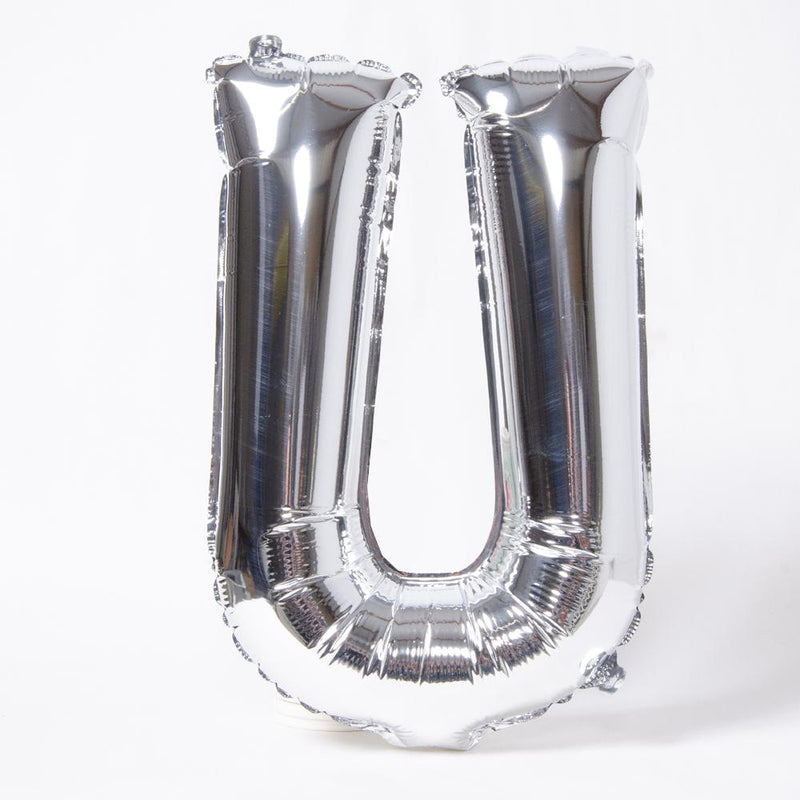 "Air-Fill Silver 16"" Letter Party Balloon U"