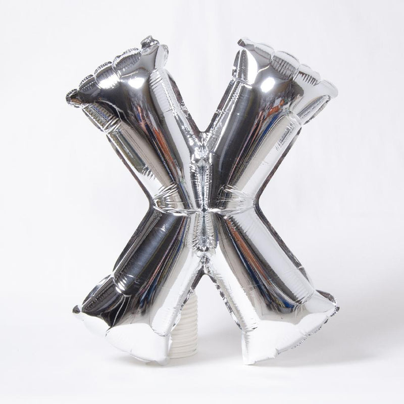 "Air-Fill Silver 16"" Letter Party Balloon X"