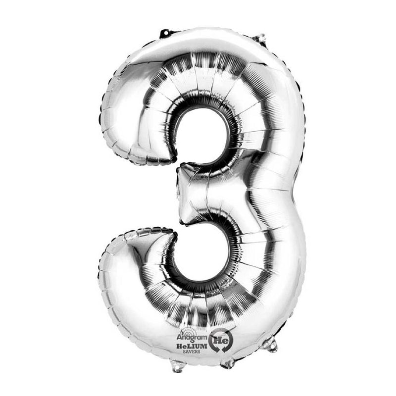 "Air-Fill Silver 16"" Number Party Balloon 3"