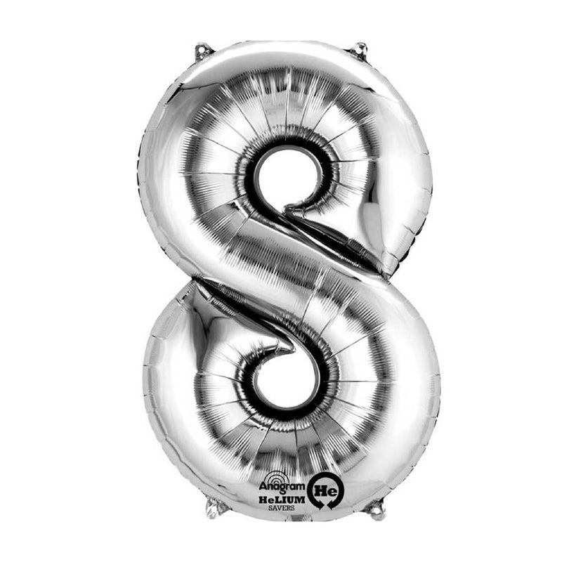 "Air-Fill Silver 16"" Number Party Balloon 8"