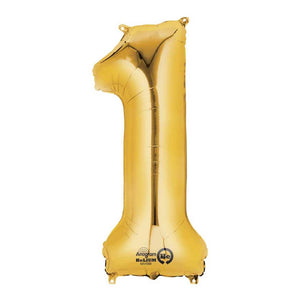 "Air-Fill Gold 16"" Number Party Balloon 1"