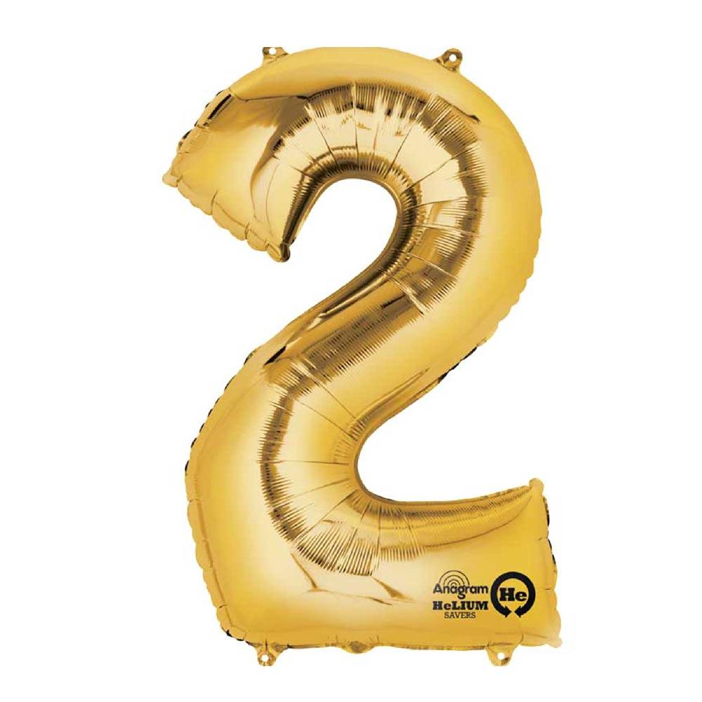 "Air-Fill Gold 16"" Number Party Balloon 2"