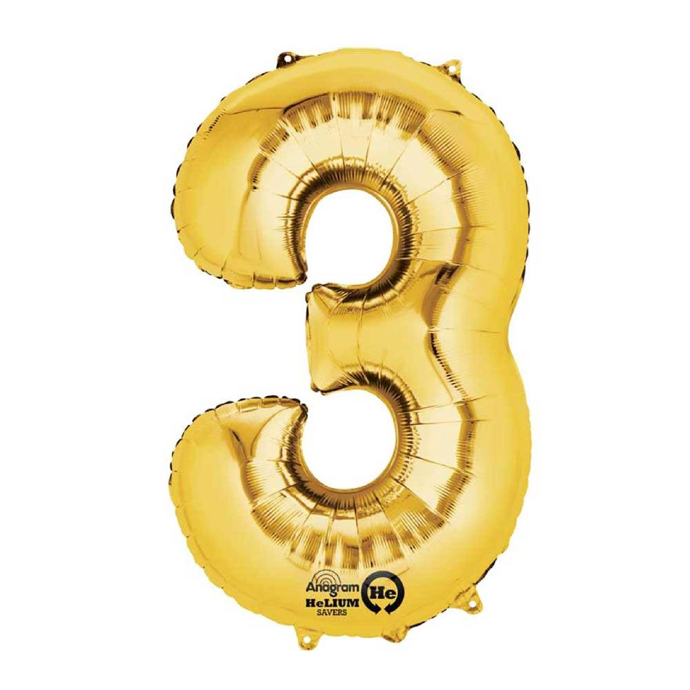 "Air-Fill Gold 16"" Number Party Balloon 3"