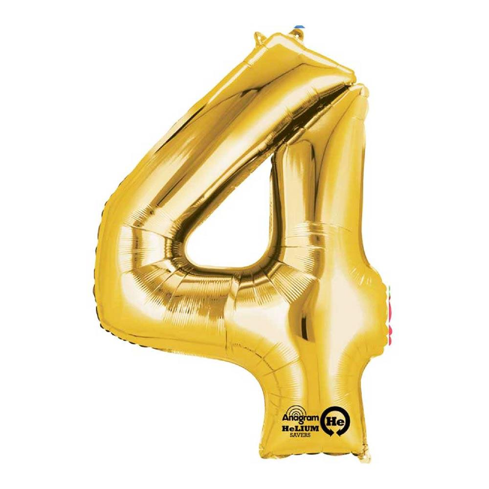 "Air-Fill Gold 16"" Number Party Balloon 4"