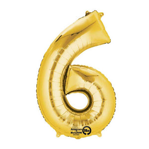 "Air-Fill Gold 16"" Number Party Balloon 6"
