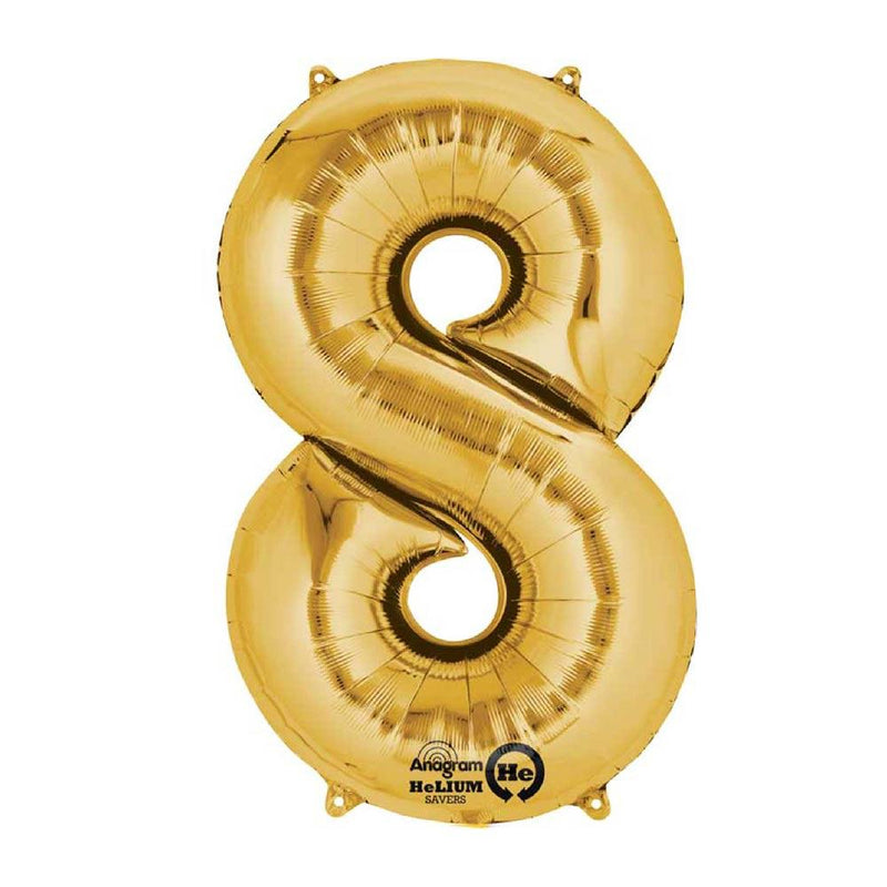 "Air-Fill Gold 16"" Number Party Balloon 8"