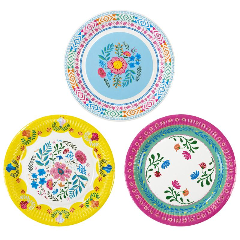 Boho Party - Floral Party Plates (x12)