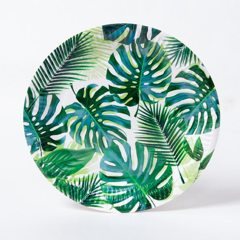 A round jungle-themed party plate with a palm leaf pattern design