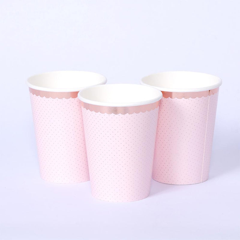 3 pink paper party cups with a rose gold trim around the top rim