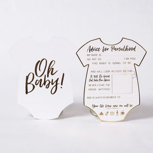 Babygrow-shaped baby shower advice cards with rose gold foil trim