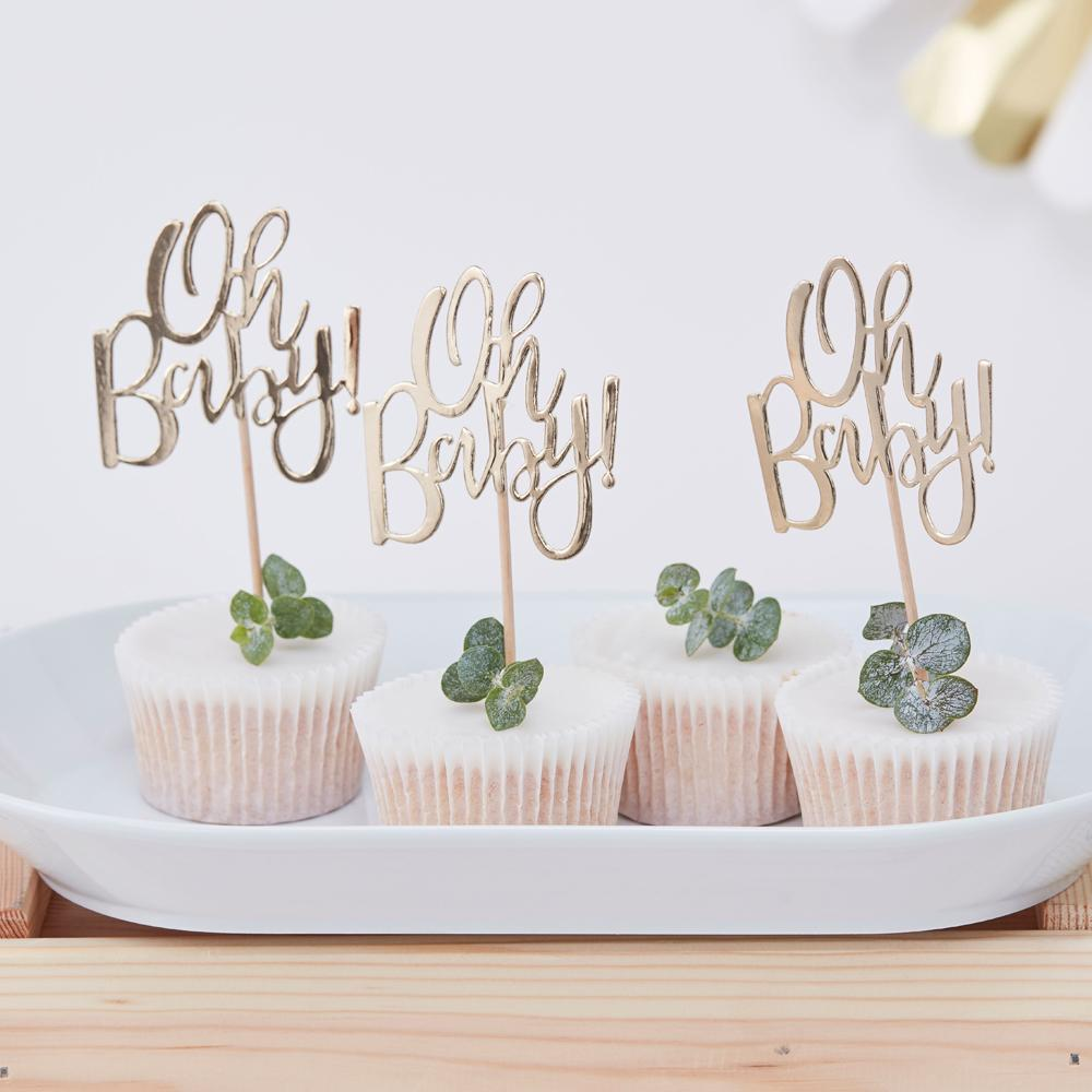 Oh Baby! Gold Party Cupcake Toppers (x12)