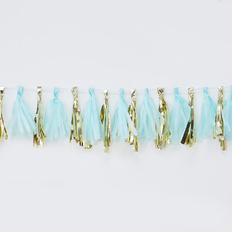 A blue and gold tassel garland