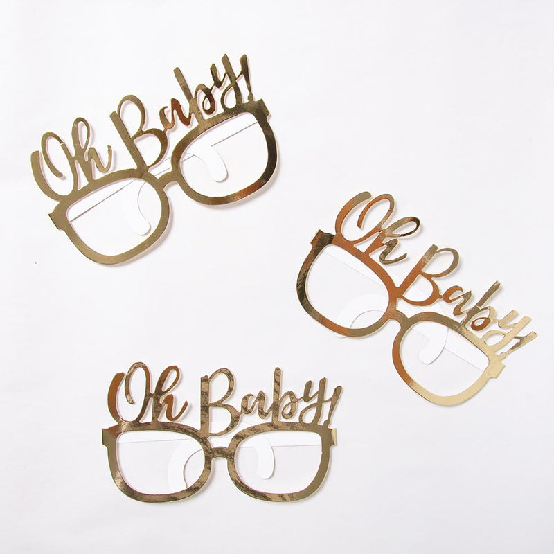 3 pairs of gold foil baby shower party glasses with the phrase