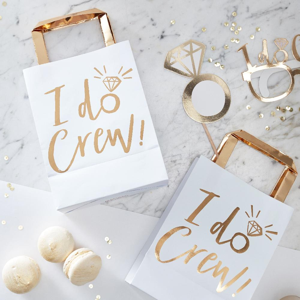 I Do Crew Gold Party Bags (x5)