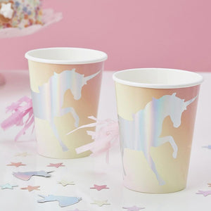 Make a Wish Unicorn Iridescent Cups (x8)
