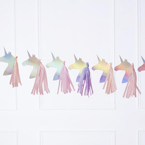 A unicorn-themed, iridescent party garland featuring unicorn-shaped pennants