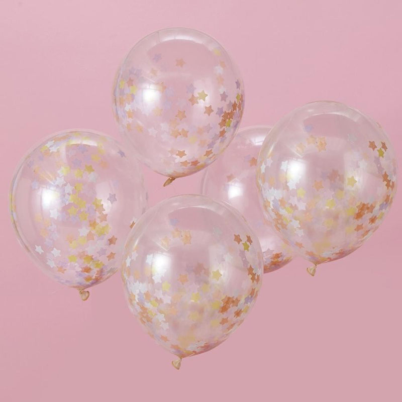 5 clear latex party balloons filled with gold star-shaped confetti