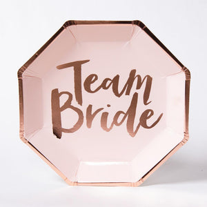 "A single hen party plate with rose gold foil trim and a ""Team Bride"" phrase"