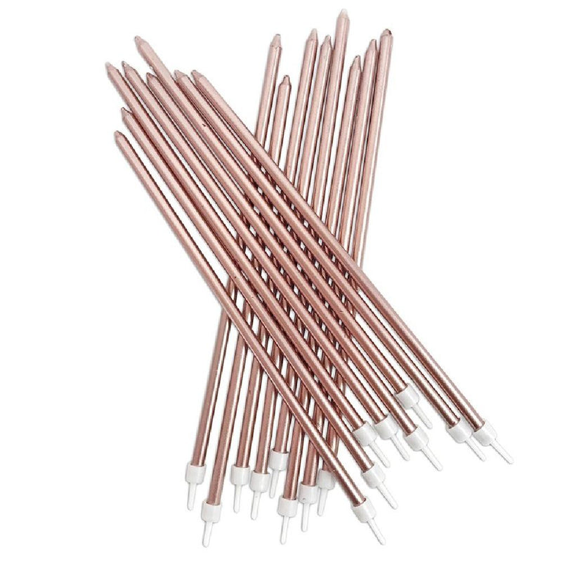 Tall Metallic Candles Rose Gold (x16)