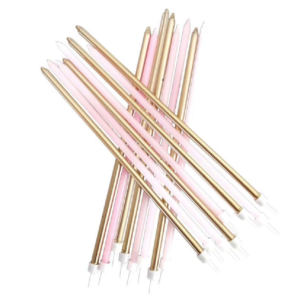 Tall Metallic Candles Pink and Gold (x16)