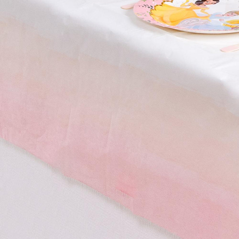 A pink pastel-coloured table cover with a stylish gradient effect