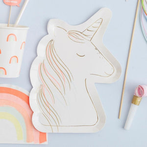 Unicorn Paper Party Plates (x8)