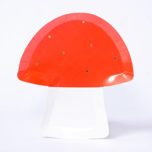 A toadstool-shaped party plate