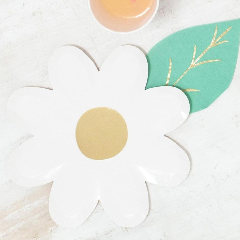 White Daisy Paper Party Plates (x8)