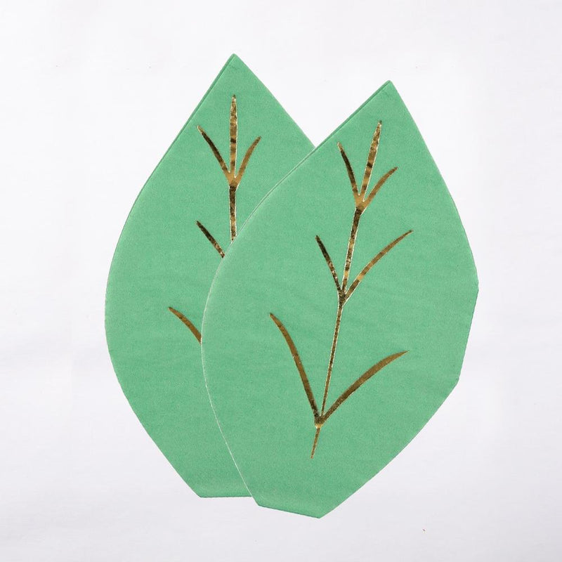 2 leaf-shaped party napkins with a light green colour and a gold foil trim