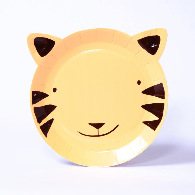 A cute tiger-shaped party plate for a jungle-themed party