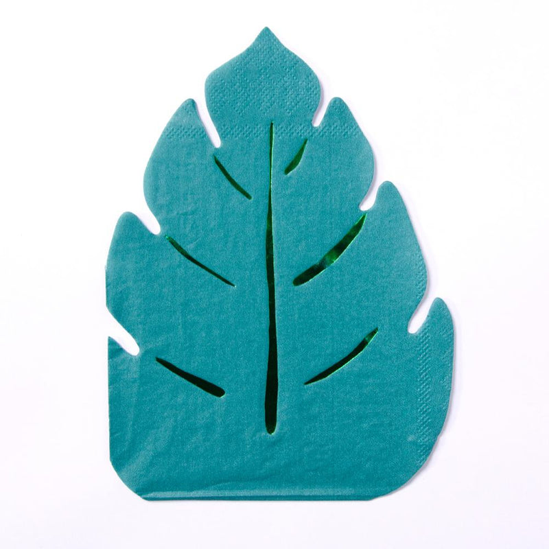 A palm leaf-shaped party napkin for a jungle-themed party