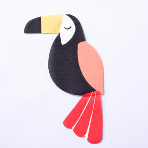 A toucan-shaped party napkin for jungle-themed celebrations