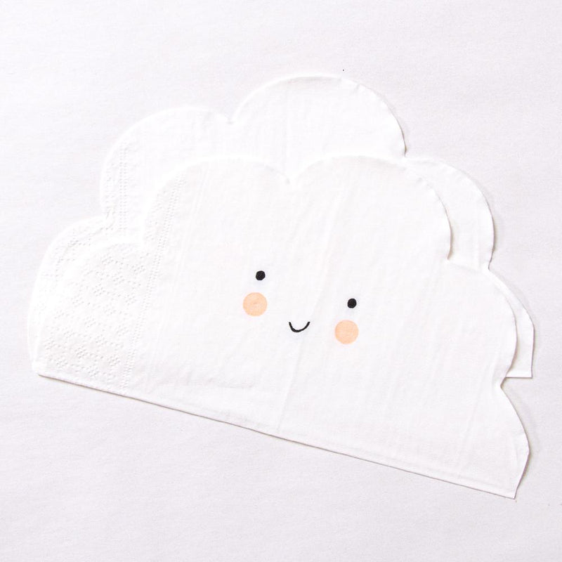 2 cloud-shaped party napkins cute smiling faces