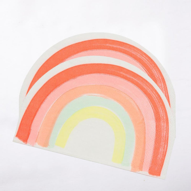A pair of rainbow-shaped paper party napkins with soft pastel colours