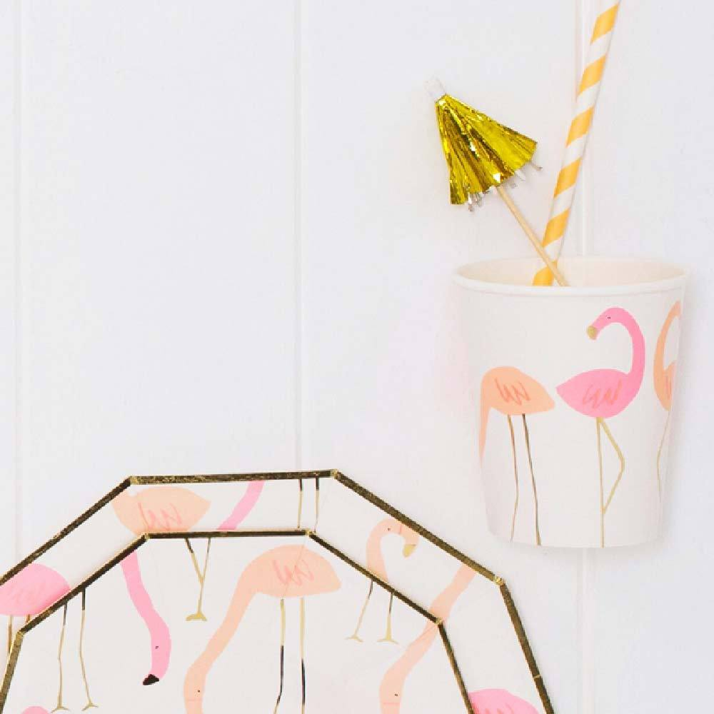 Flamingo Paper Party Cups (x8)