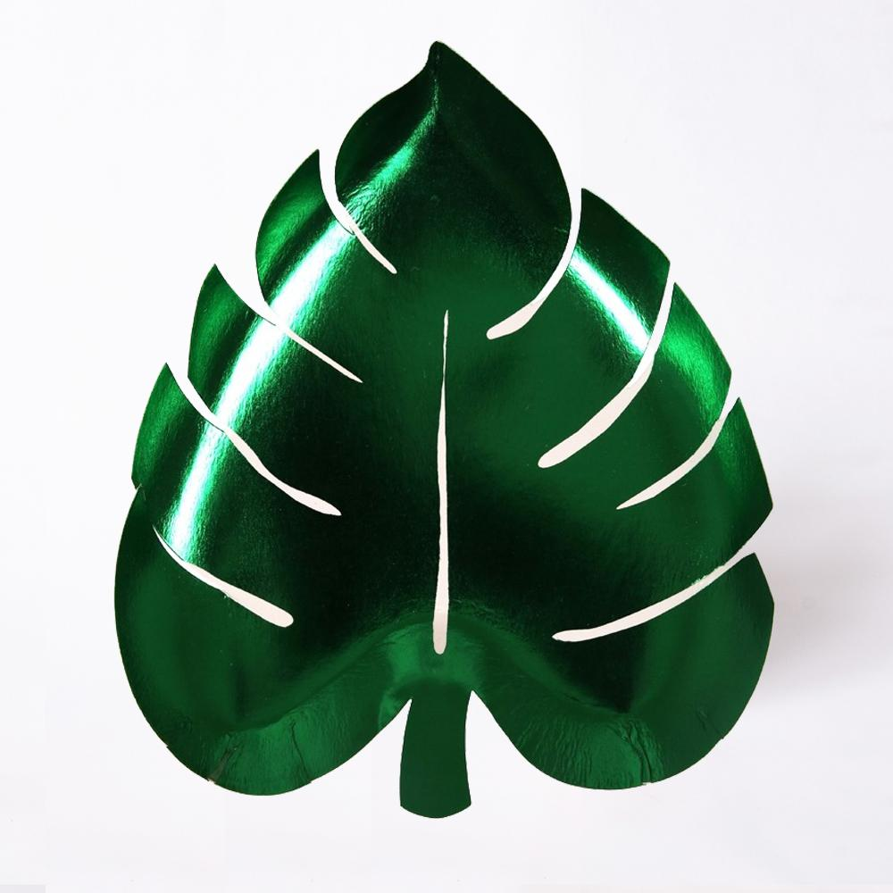 Shiny green foiled palm leaf party plates