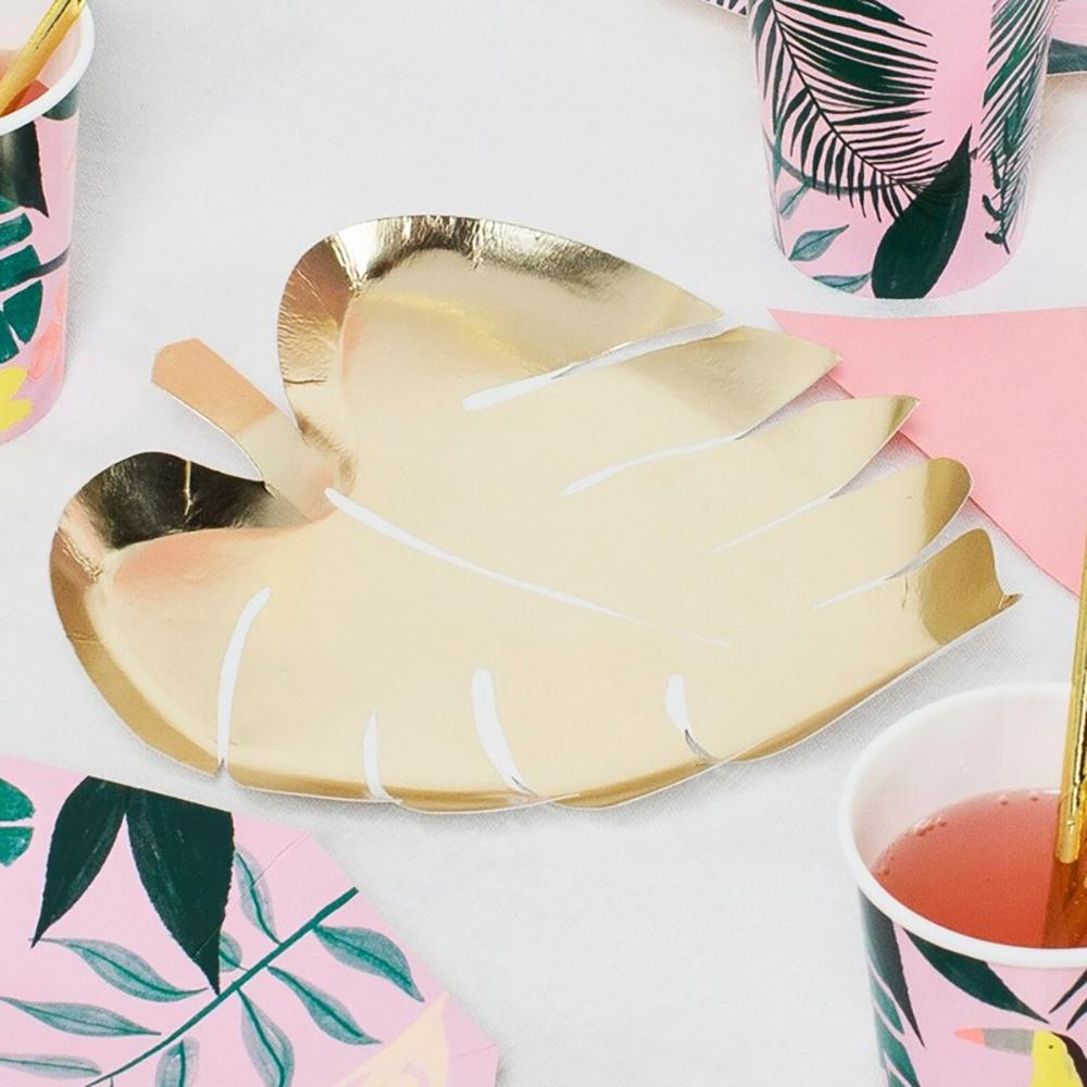 Gold Palm Leaf Paper Party Plates (x8)