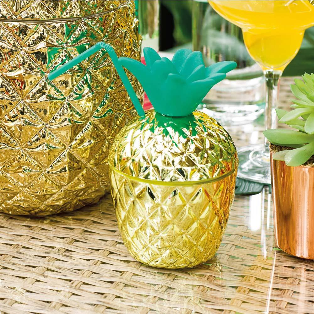 Tropical Party - Gold Plastic Pineapple Cup