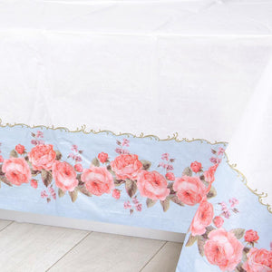 A party table cover with a vintage-styled floral design