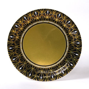 A round art-deco style party plate for 20's themed parties and movie nights