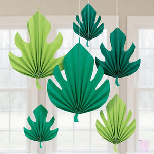 6 palm leaf-shaped decorations hanging from a party room ceiling